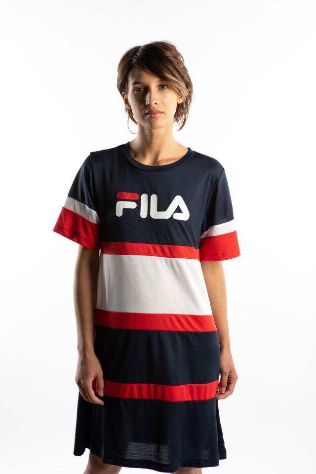 TERHIKKA TEE DRESS K14 BLACK IRIS/BRIGHT WHITE/TRUE RED