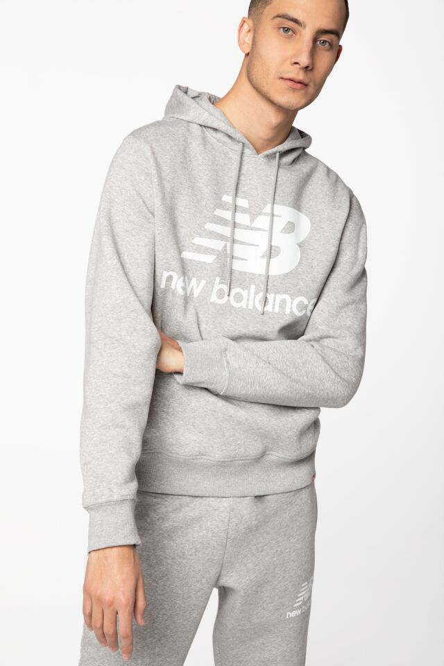 ESSENTIALS STACKED LOGO PO HOODIE NBMT03578AG GREY
