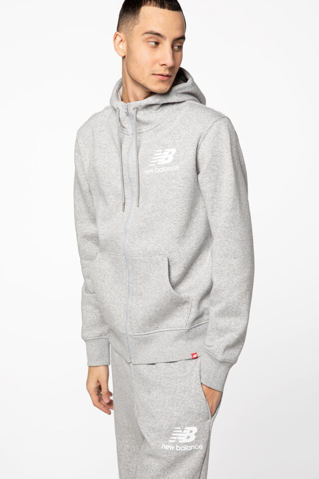ESSENTIALS STACKED FULL ZIP HOODIE NBMJ03580AG GREY