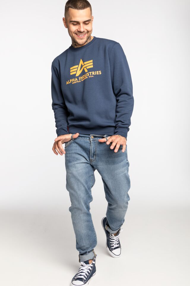 Basic Sweater 178302-463 NEW NAVY/WHEAT