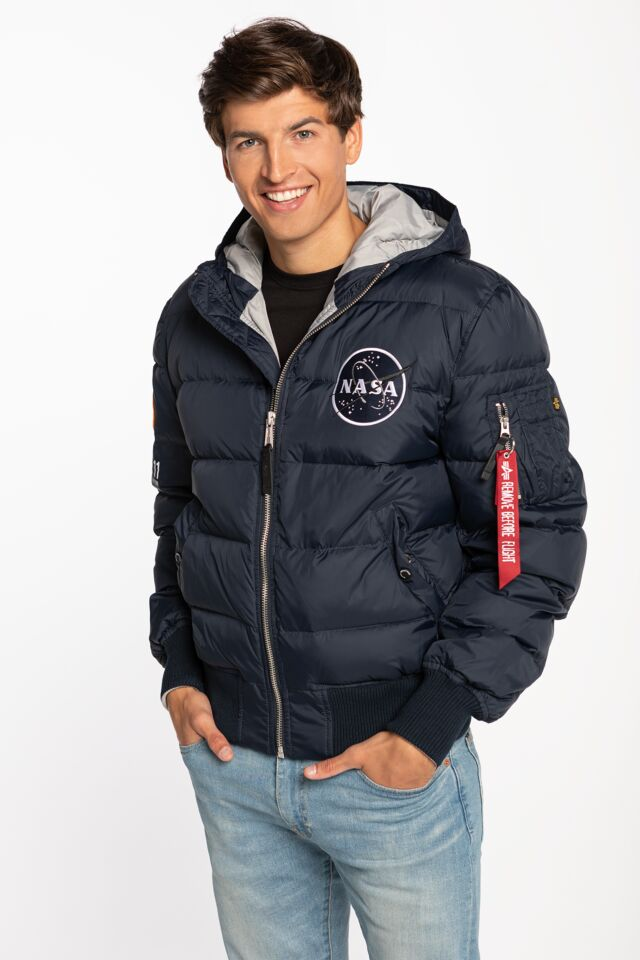 HOODED PUFFER APOLLO 11 07 REP. BLUE