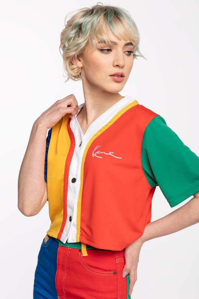 KRÓTKA ZAPINANA  KK Small Signature Block Baseball Shirt multicolor 6135036