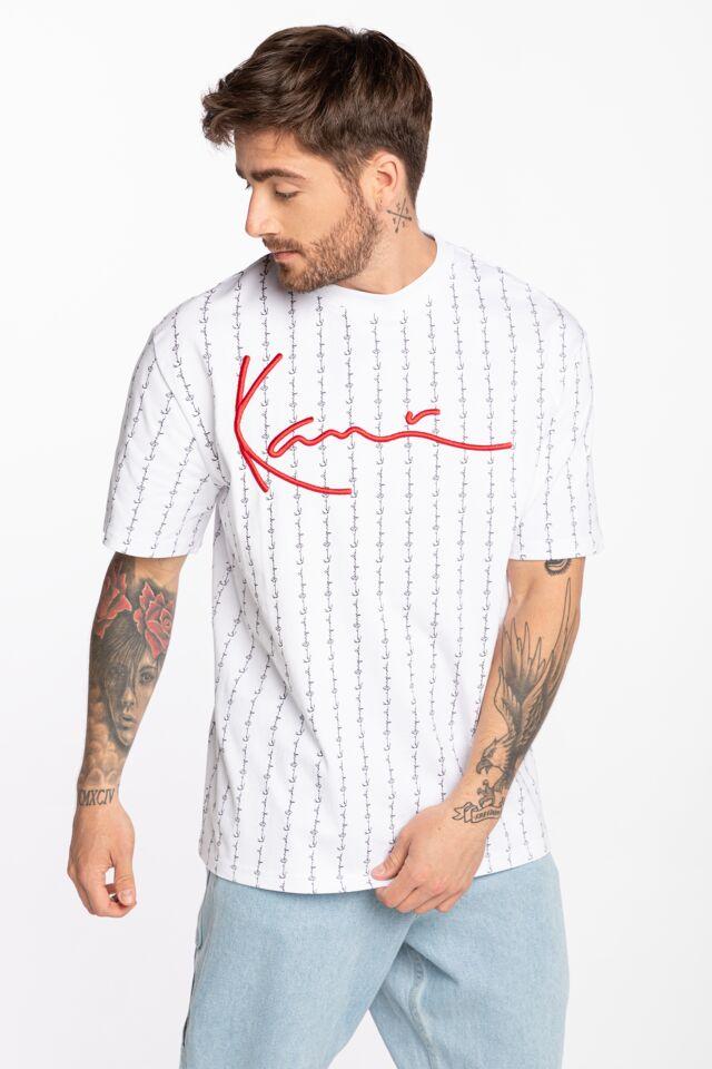 Z KRÓTKIM RĘKAWEM Signature Logo Pinstripe Tee white 6030274