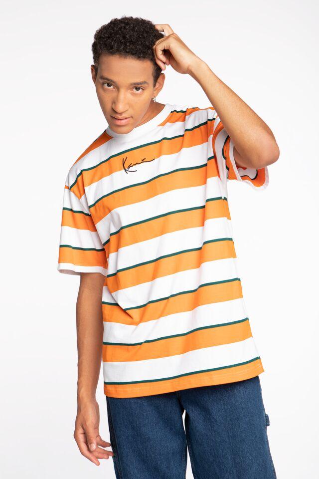 Z KRÓTKIM RĘKAWEM KK Small Signature Stripe Tee orange/white 6030754