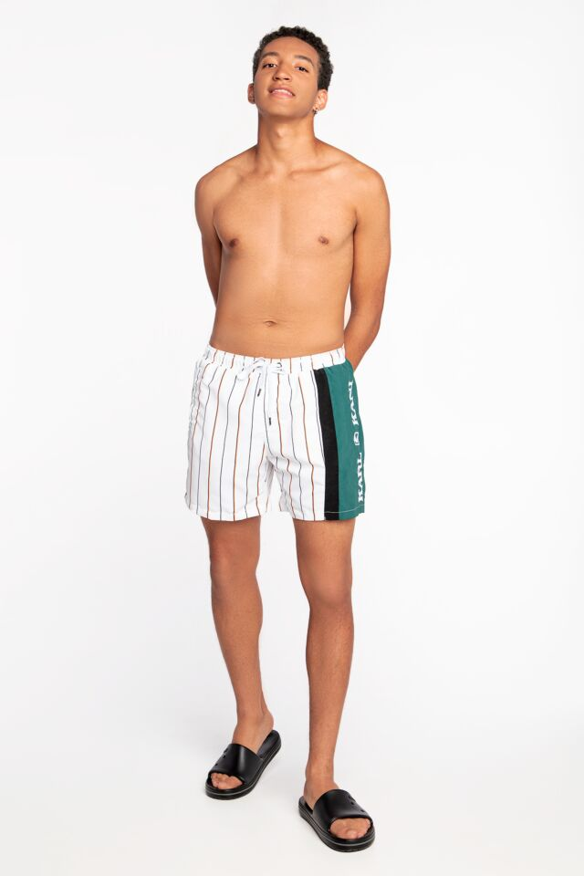 SZORTY KK Retro Block Pinstripe Shorts white/green/black 6014420
