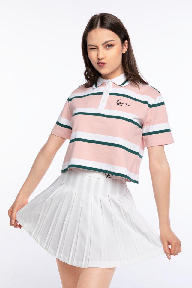 POLO KK Small Signature Stripe Polo Short Tee rose/white/green 6132028
