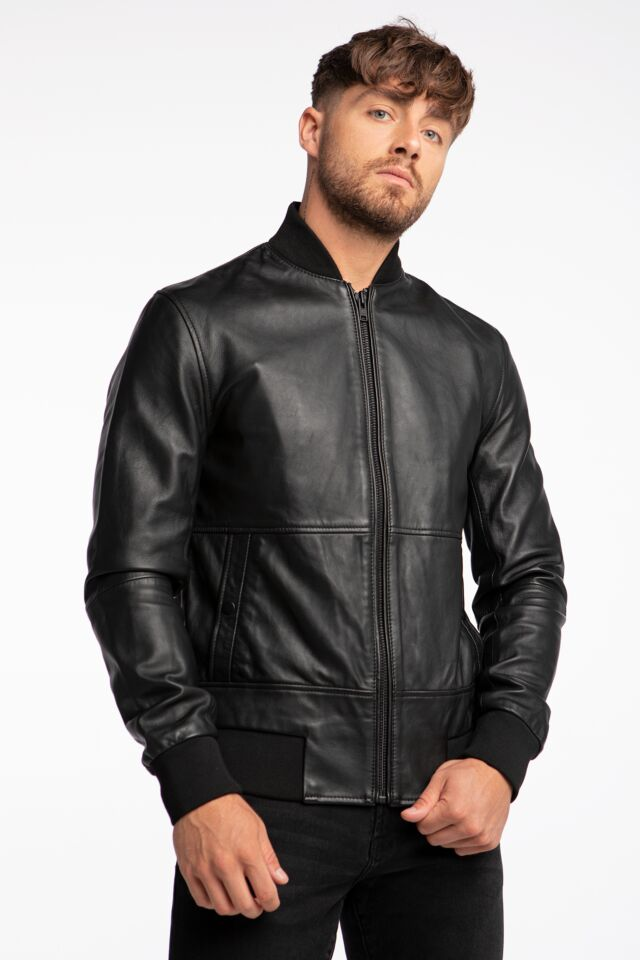 MENS LEATHER JACKET TEXTURED-BLK