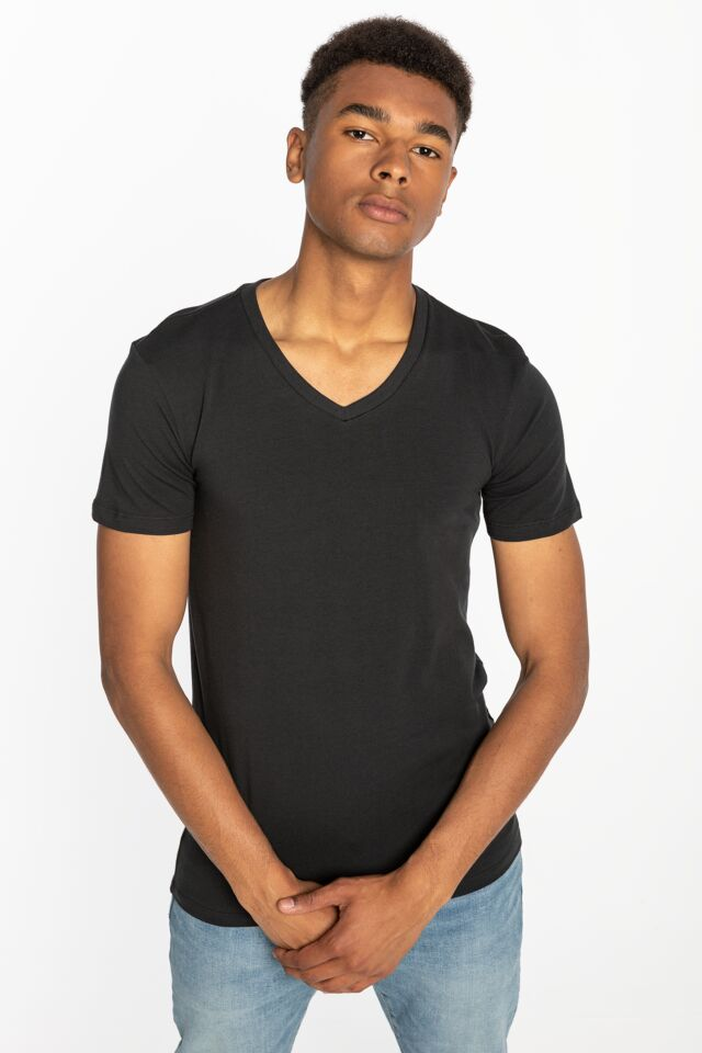 MEN V-NECK 2PACK 37152-0006 BLACK