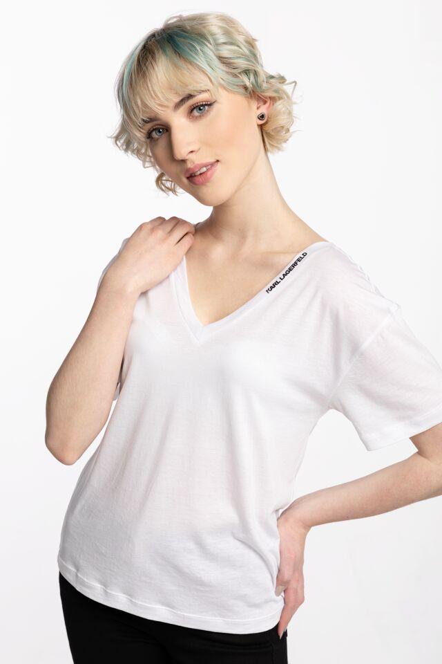 Double V Neck T-Shirt 211W1701100-100