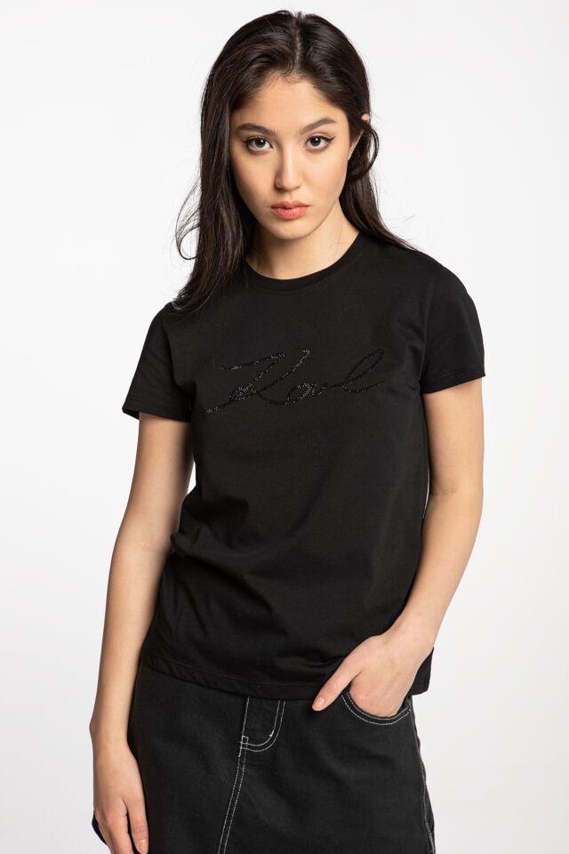 Logo Rhinestone T-Shirt 206W1707-999 BLACK