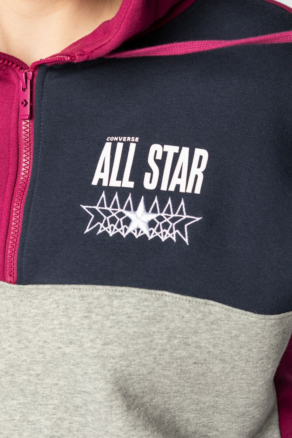ALL STAR CROPPED HOODIE A03 ROSE MAROON MULTI