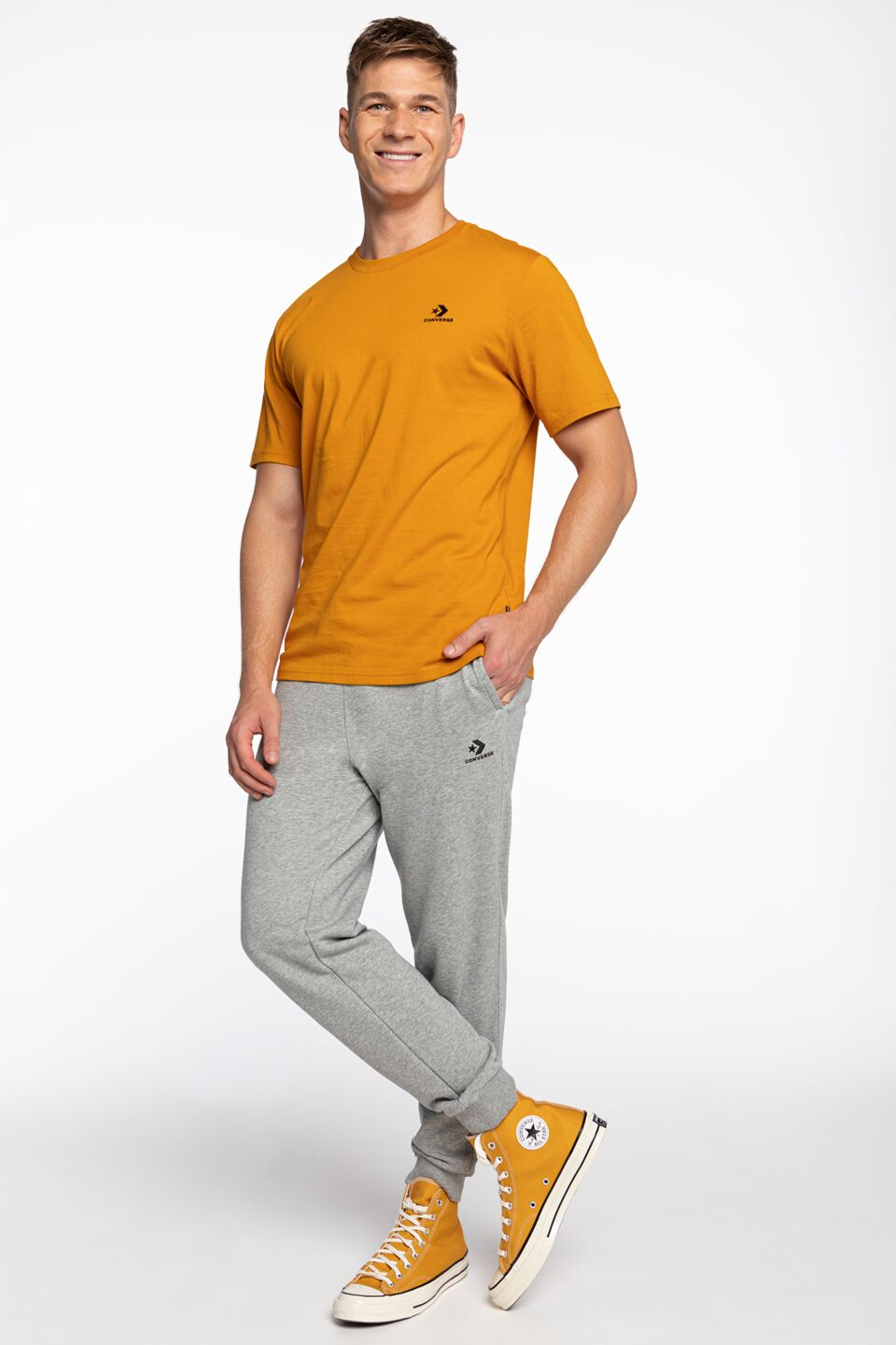 M LEFT CHEST STAR CH TEE 224 YELLOW